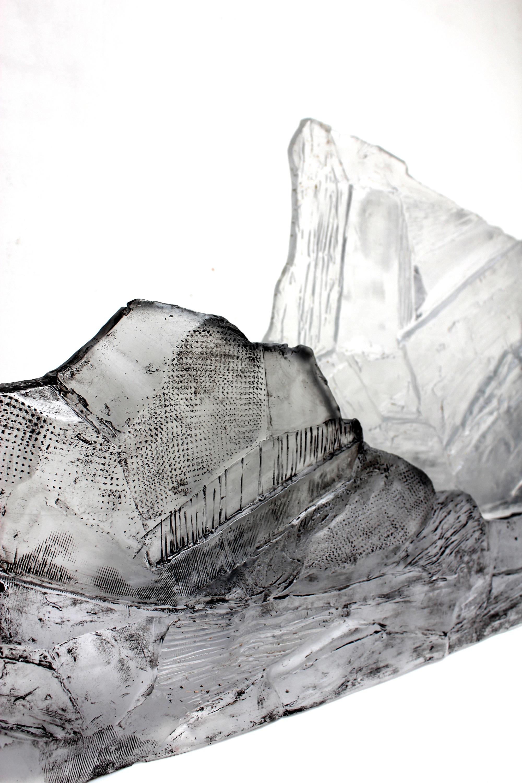 détail,  pâte de verre, sérigraphie, 2018