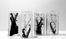 Petites architectures verticales, pâte de verre et sérigraphie, 2020