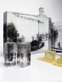 Architecture(s), pâte de verre et sérigraphie, 2018