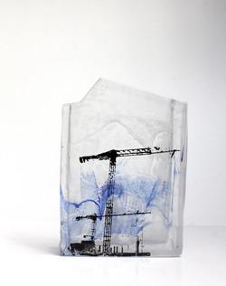 Façade bleue, pâte de verre et sérigraphie, 2018
