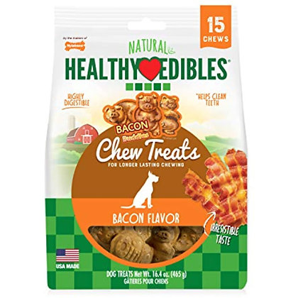 Nylabone Healthy Edibles Bacon Flavored Dog Treat Chews, 15 Count
