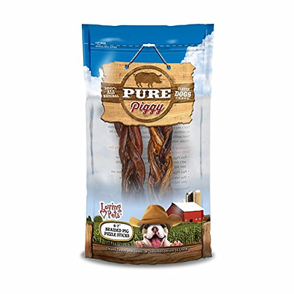 "Loving Pets Pure Piggy Dog Treat, 6""-7"", 2-Pack, Braided Pig Pizzle"