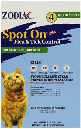 Zodiac Flea & Tick Spot On for Cats 5 lbs. and Over 4 pk.