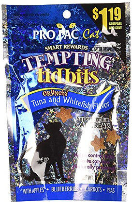 PRO PAC TREATS, Tempting Tidbits Tuna and Whitefish Flavor, 3 Ounce Pouch