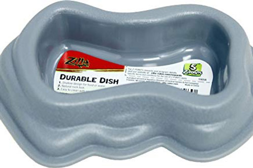 Zilla Durable Dish, Small, Gray, Terrarium Food or Water Bowl