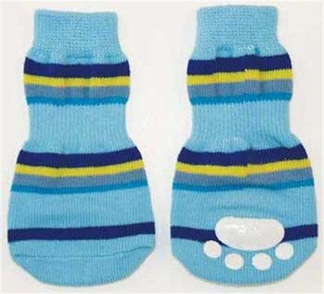 Fashion Pet Lookin Good Striped Slipper Socks for Dogs, Medium, Blue