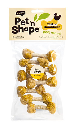 Pet 'n Shape Chik 'n Rice Dumbbells - All Natural Dog Treats, Chicken, 3 oz