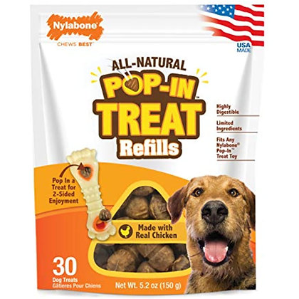 Nylabone Pop-in Dog Treat Refills for Treat Toy Combo 30 Count 30 Count (NTHR930