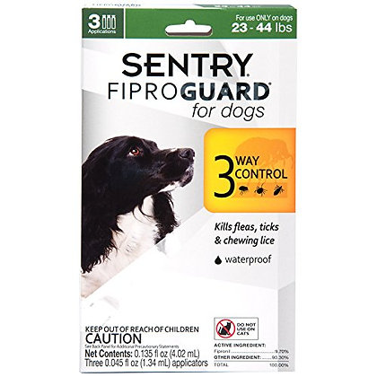 SENTRY Fiproguard for Dogs, Flea and Tick Prevention for Dogs (23-44 Pounds), In