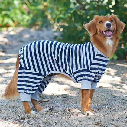 Fashion Pet Blue and White Striped PJs - X Small