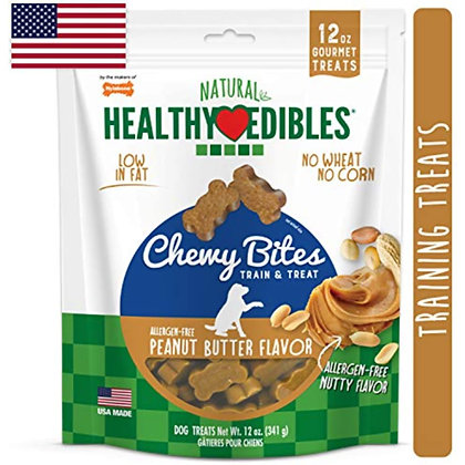 Nylabone Healthy Edibles Natural Chewy Bites Soft Dog Chew Treats Peanut Butter