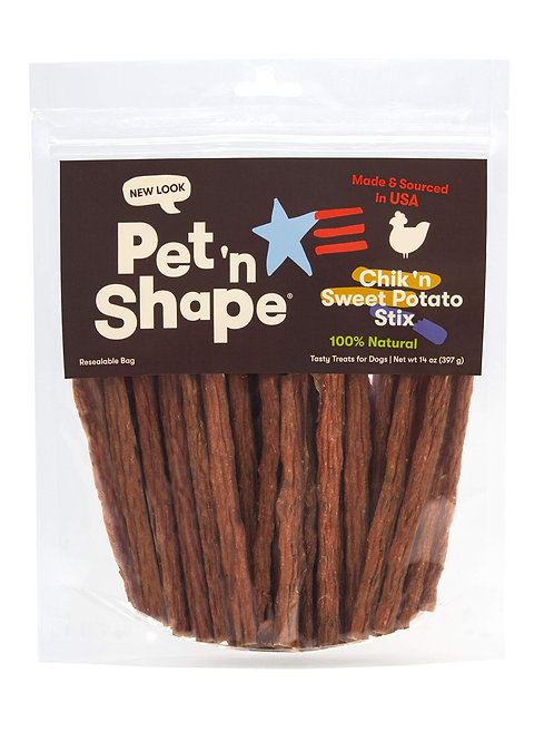 Pet 'n Shape Chik 'N Sweet Potato Stix  Made and Sourced in The USA-All Natural