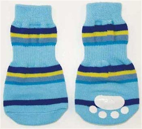 Fashion Pet Lookin Good Striped Slipper Socks for Dogs, Large, Blue
