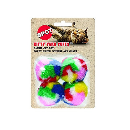 """SPOT Kitty Yarn Puffs Colorful Woolen Yarn Cat Toy Contains Catnip 1.5"""" Pack of"""