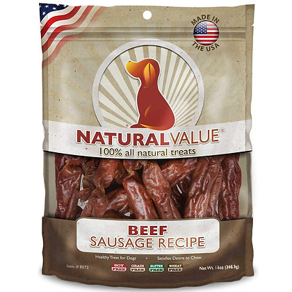 Loving Pets Natural Value All Natural Soft Chew Beef Sausages For Dogs, 13-Ounce