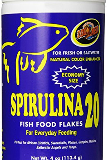 Zoo Med Spirulina 20 Flake Fish Food, 4-Ounce