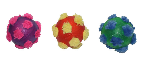 """Multipet 4-Teen TRP Outer Rubber Ball with Plush Interior Ball That Squeaks, 4"""""""