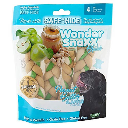 Healthy Chews Wonder Snaxx Braids, 4 Large, Peanut Butter and Apple Flavor Dog T