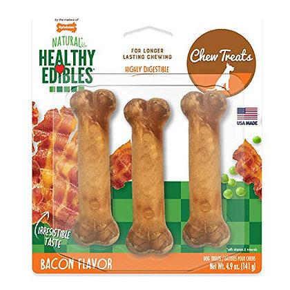 Nylabone Healthy Edibles All-Natural Long Lasting Bacon Chew Treats 3 count Smal