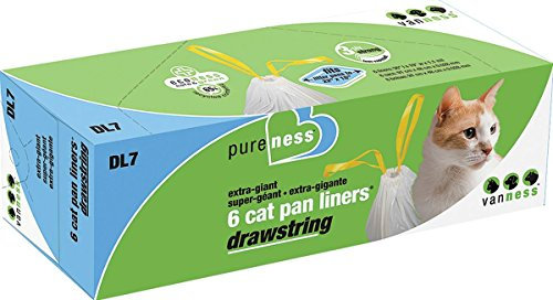 Van Ness DL7 PureNess Extra Giant Drawstring Cat Pan Liner, 6-Count