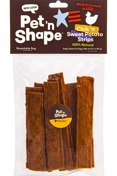 Pet 'n Shape Chik 'N Sweet Potato Strips  Made and Sourced in The USA-All Natura