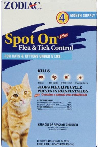 Zodiac Spot On Plus Flea & Tick Control for Cats & Kittens Under 5 Poundsr, 4-Mo