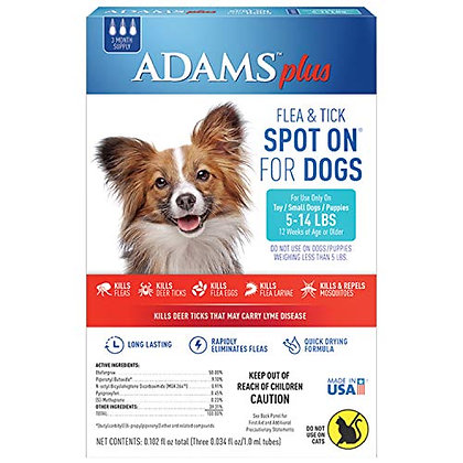 Adams Plus Fleas and Tick Prevention Spot On for Dogs Topical 3 month supply Sma