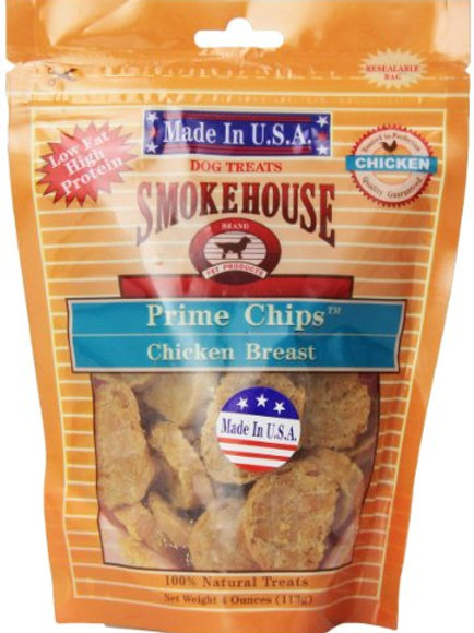 Smokehouse Pet Products 85461 Chicken Prime Chips Treat For Dogs, 4-Ounce