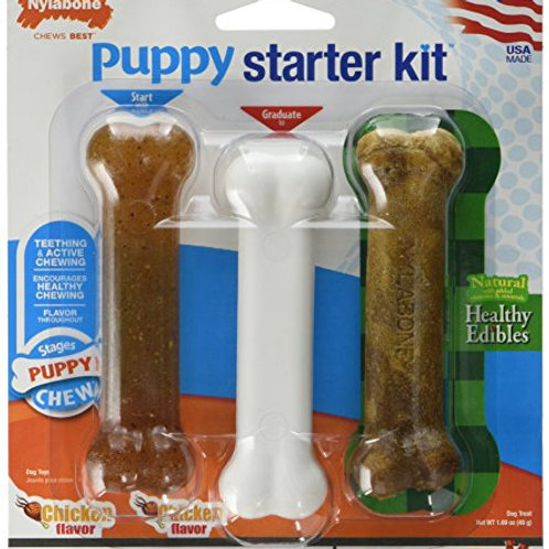 Nylabone Puppy Starter Kit Dog Chew Toys & Treat Chicken & Bacon Flavor Small/Re