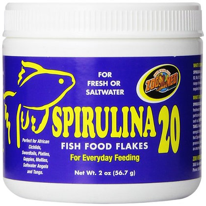 Zoo Med Spirulina 20 Flake Fish Food, 2-Ounce