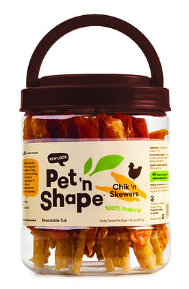Pet 'n Shape Chik 'n Skewers - Chicken Wrapped Rawhide - All Natural Dog Treats,