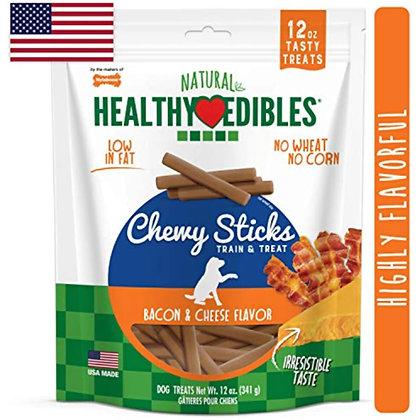 Nylabone Healthy Edibles Chewy Dog Treat Sticks Bacon & Cheese 12 oz.