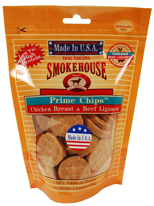 Smokehouse Pet Products 85455 Chicken Beef Chips Treat For Dogs, 4-Ounce