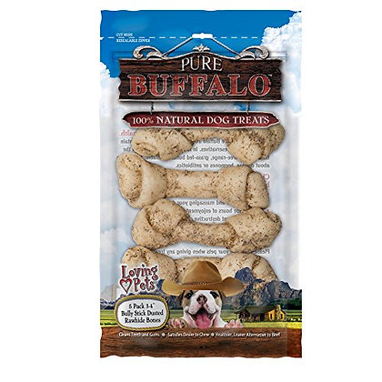 """Loving Pets Pure Buffalo 5 Piece 3-4"""" Bully Stick Dusted Rawhide Bone For Dogs ("""