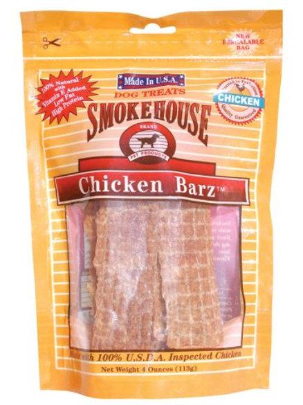 Smokehouse 100-Percent Natural Chicken Barz Dog Treats, 4 Ounce