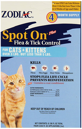 Zodiac Spot On for Cats and Kittens Under 5-Pounds, 4 Month Supply