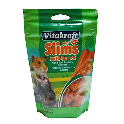 Vitakraft Mini Slims with Carrot Hamster & Small Animal Nibble Stick Treat, 1.76