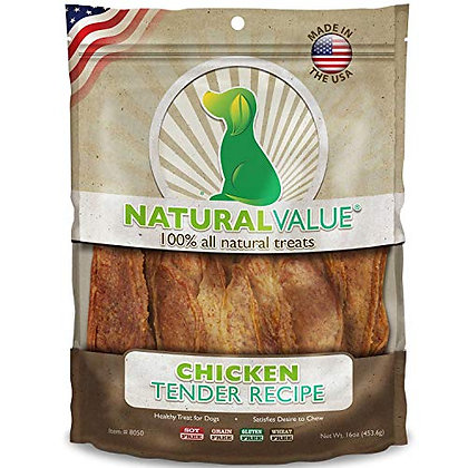 Loving Pets Natural Value All Natural Soft Chew Chicken Tenders Dog Treat, 14-Ou