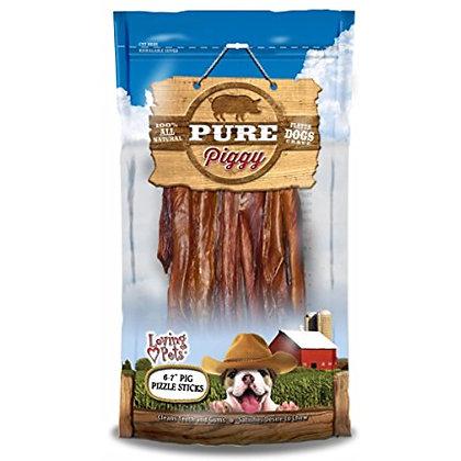 "Loving Pets Pure Piggy Dog Treat, 6""-7"", 6-Pack, Pig Pizzle"