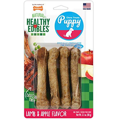 Nylabone Healthy Edibles Puppy Chew Treats, Lamb & Apple, Petite, 4 Count