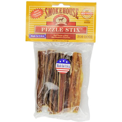 Smokehouse Pet Products 83038 6-Pack Beef Pizzle Treat For Dogs, 4-Inch
