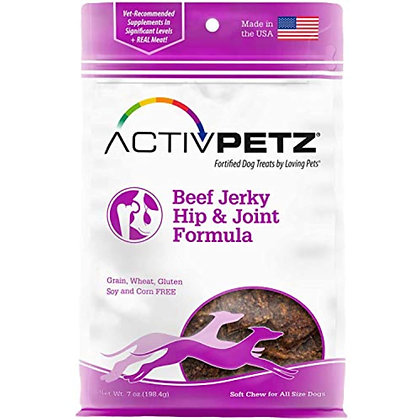 Loving Pets Activpetz Beef Jerky Hip & Joint Formula Dog Treat, 7 Oz