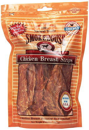 Smokehouse 100-Percent Natural Chicken Breast Strips Dog Treats, 8-Ounce