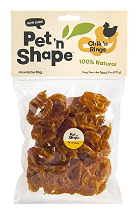 Pet 'n Shape Chik 'n Rings - All Natural Chicken Jerky Dog Treats, 8 oz, 1 Pack
