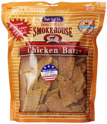 Smokehouse 100-Percent Natural Chicken Barz Dog Treats, 16-Ounce