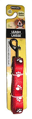 "Aspen Pet Products Reflective Paw Lead, Red, 5/8"" x 5'"