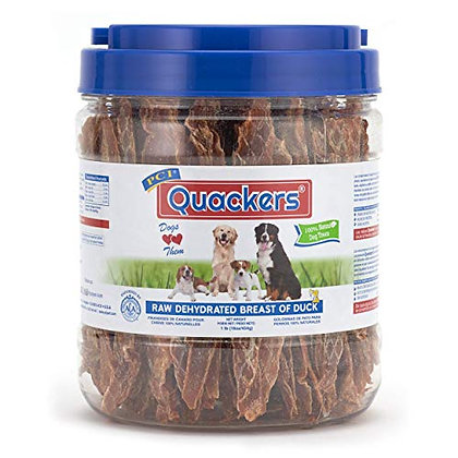 PCI Pet Center Inc. Quackers Raw Dehydrated Duck Breast Dog Treats, 1 Pound Cont
