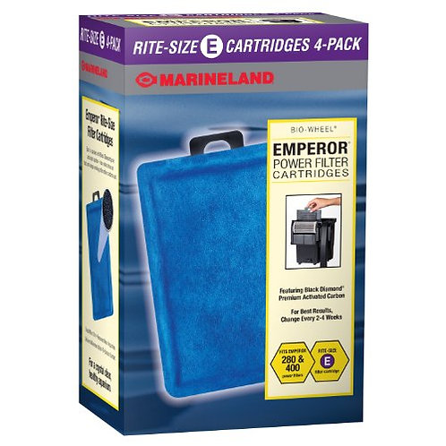 Marineland Emperor Power Filter Cartridge Rite-Size E, 4 Count, Replacement Cart