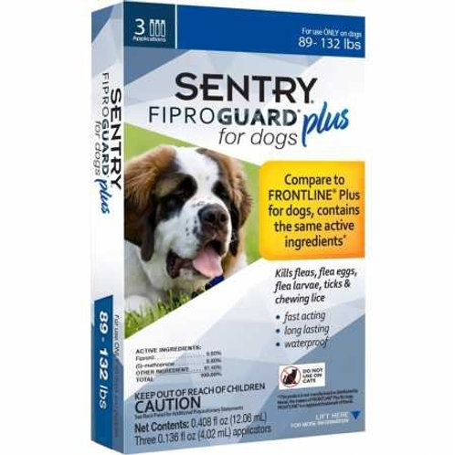 SENTRY Fiproguard Plus for Dogs, Flea and Tick Prevention for Dogs (89-132 Pound