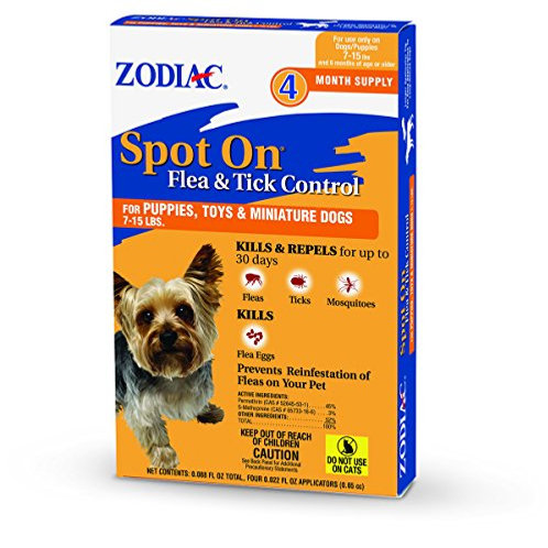 Zodiac  Flea & Tick Spot On  for Puppies 7-15 lbs 4-pack